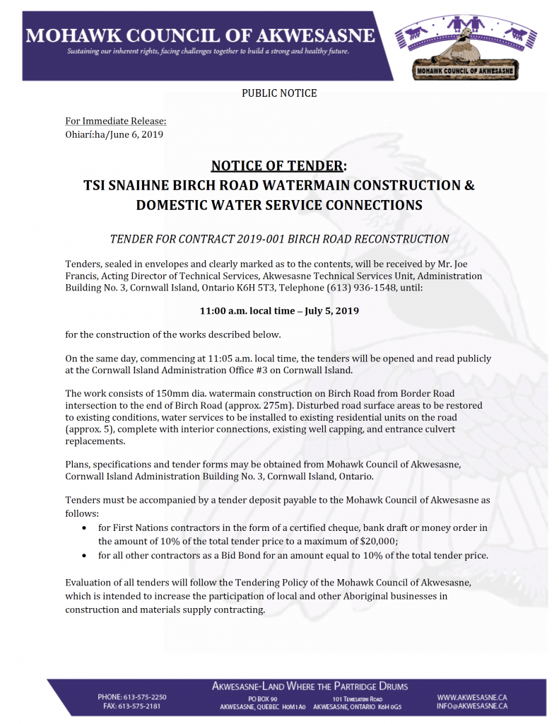NOTICE OF TENDER: TSI SNAIHNE BIRCH ROAD WATERMAIN CONSTRUCTION
