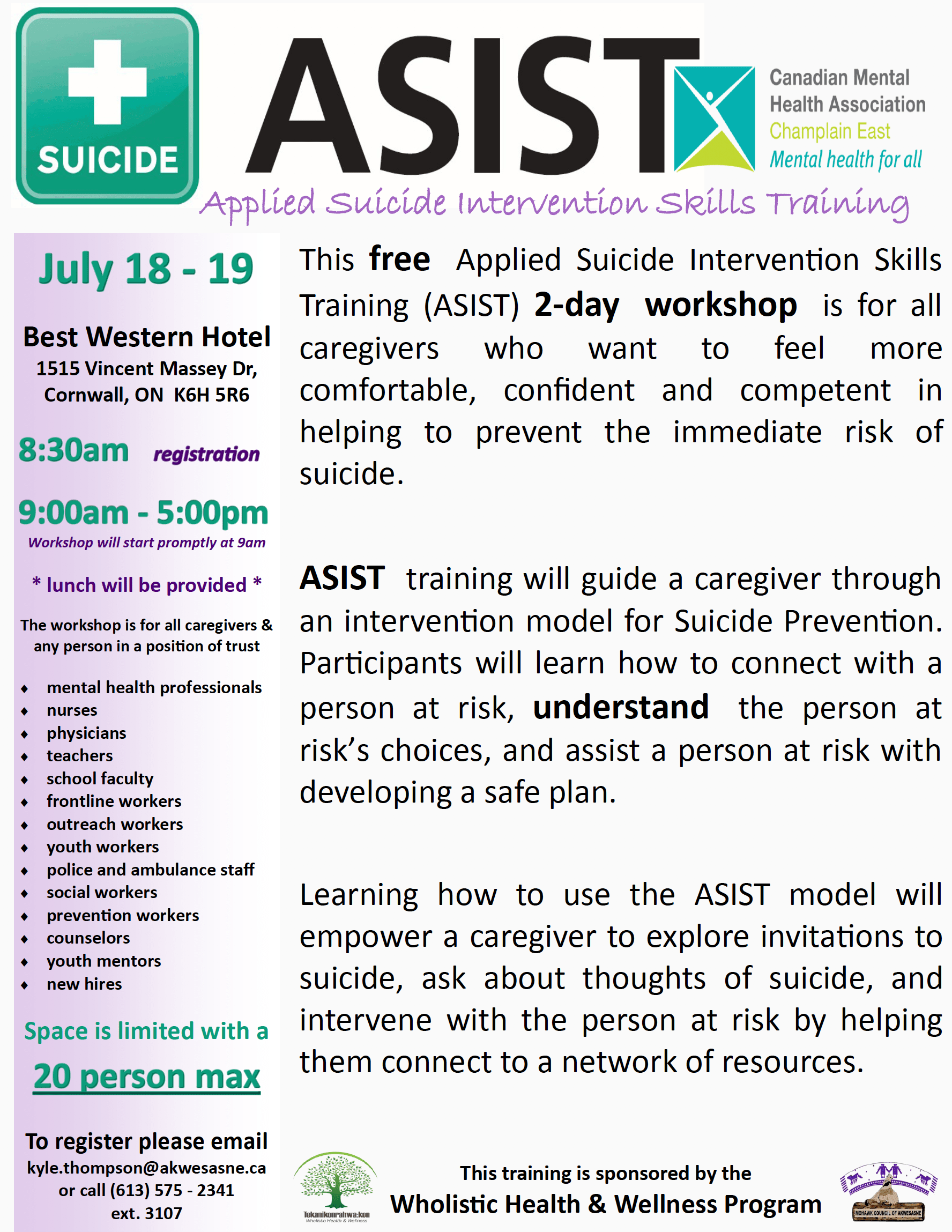 APPLIED SUICIDE INTERVENTION SKILLS TRAINING (ASIST) IN JULY