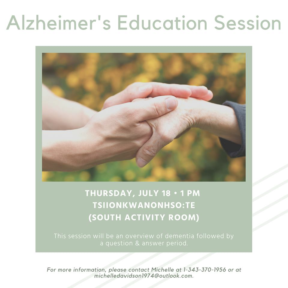ALZHEIMER'S EDUCATION SESSION @ Tsiionkwanonhso:te Longterm Care Facility