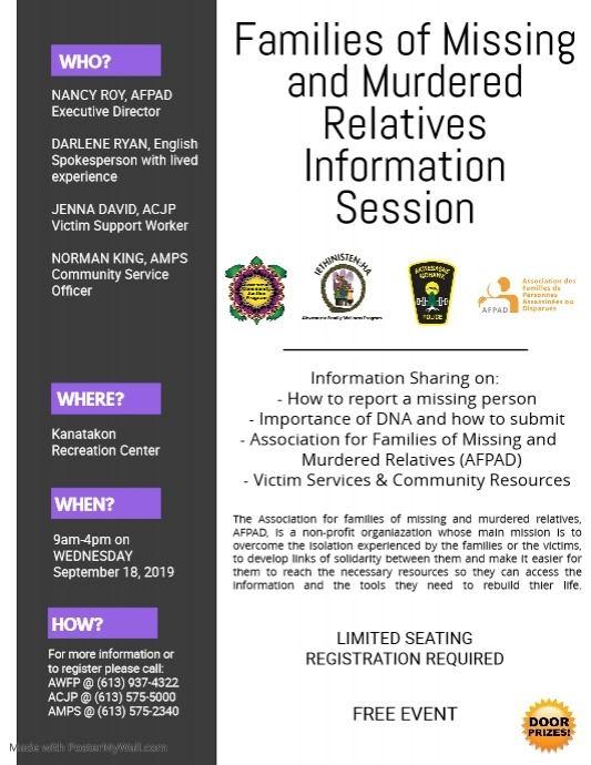 FAMILIES OF MISSING & MURDERED RELATIVES INFORMATION SESSION @ Kana:takon Recreation Center
