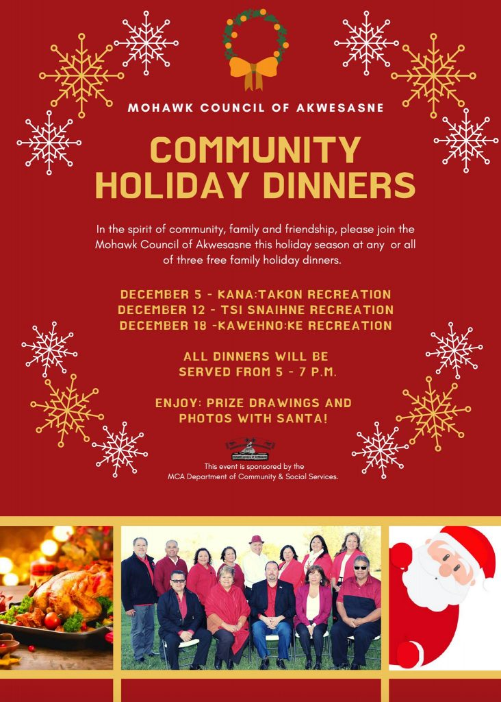 MCA Community Holiday Dinner — Kawehno:ke @ Kawehno:ke Recreation Centre